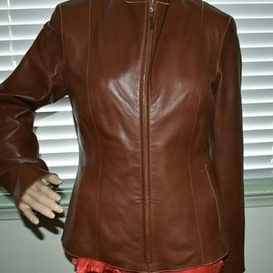 Leather COLE HAAN Brown Leather Jacket